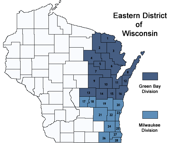 Counties Served by Division | Eastern District of Wisconsin | United ...